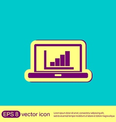 Laptop with symbol diagram vector
