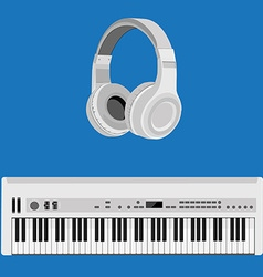 Headphones and synthesizer vector