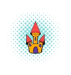 Castle icon in comics style vector
