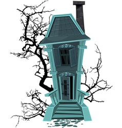 Haunted halloween witch house isolated on white vector