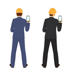 builder with phone in hand view from back vector image