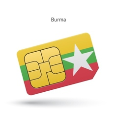 Burma mobile phone sim card with flag vector image vector image