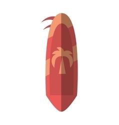 cartoon pink surf board hobby beach summer shadow vector image