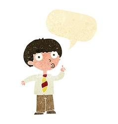 Cartoon school boy with question with speech vector
