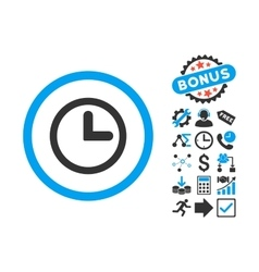 Clock Flat Icon with Bonus vector image