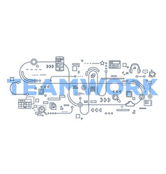 creative of teamwork word lettering vector image