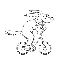 Cute dog riding a bicycle vector