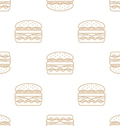 double hamburger outline seamless pattern vector image