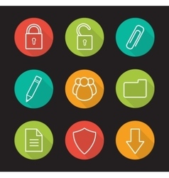 File management flat linear long shadow icons set vector