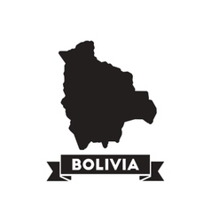 Flat icon in black and white maps of bolivia vector