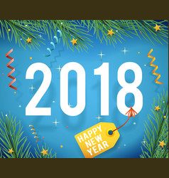 greeting card template new year 2018 symbol icon vector image vector image