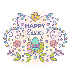 Happy easter card floral design with eggs vector