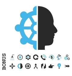 Intellect Flat Icon With Bonus vector image