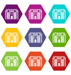 large two-storey house icon set color hexahedron vector image