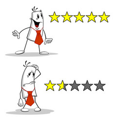 man with rating stars vector image vector image