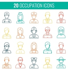 Professions Flat Icons vector image vector image