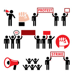 Protest strike people demonstrating or fighting vector