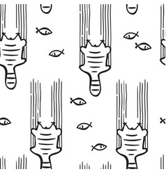 scetched doodle cat pattern vector image vector image