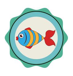 sea fish emblem icon vector image