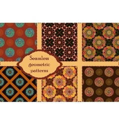 Set of 6 geometric seamless patterns vector image