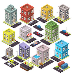 Set of home and road with cars isometric vector