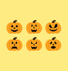 set of pumkins vector image vector image
