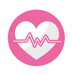 Sticker heartbeat to know rhythm cardic and vector