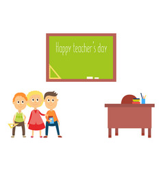 teacher day greeting card with school children vector image vector image
