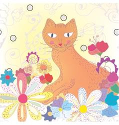 vintage cat background vector image