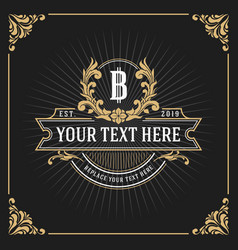 Vintage luxury monogram banner template design vector