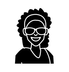 woman with sunglasses cartoon vector image