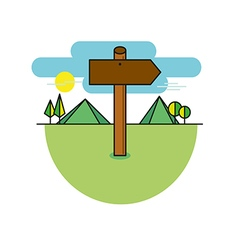 Wooden sign shaped like an arrow on a mountains vector
