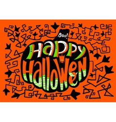 Happy Halloween lettering in pumpkin silhouette vector image