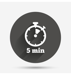 Timer sign icon 5 minutes stopwatch symbol vector