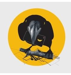 crow cheese telephone graphics idea vector image
