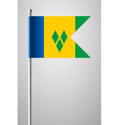 Flag saint vincent and the grenadines on flagpole vector
