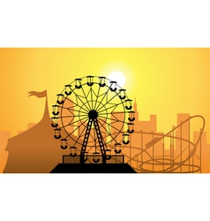 city and amusement park vector image