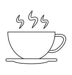 Cup of coffee smoke outline vector