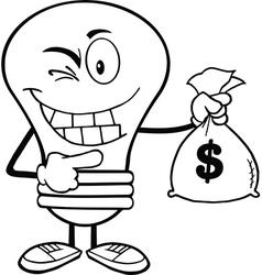 Light bulb holding money bag vector image