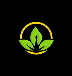green leaf ecology people logo vector image