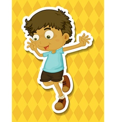 Little boy jumping around vector