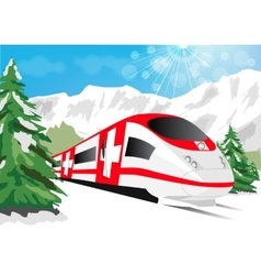 Glacier express driving across snowy mountains vector