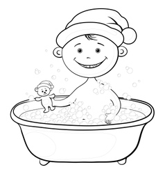 Baby santa claus washing in the bath outline vector