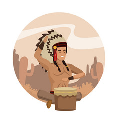 American indian cartoon in round icon vector