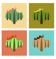 Assembly flat icons fire in the forest vector