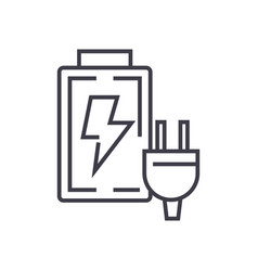 battery charger line icon sign vector image
