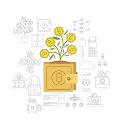 Bitcoin wallet growing currency in closeup and vector