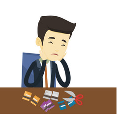 business man bankrupt cutting his credit card vector image