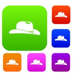 Cowboy hat set collection vector