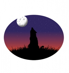 Coyote howling moon vector